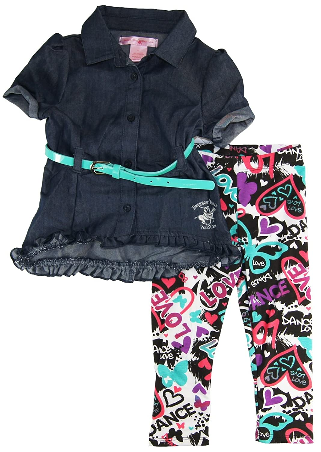 Beverly Hills Polo Club Little Girls' Classic Belted Top Dress 2Pc Leggings Set