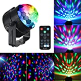 Mini Dj Disco Ball Party Stage Lights Sbolight Led 7Colors Effect Projector Karaoke Equipment for Stage Lighting With Remote Control Sound Activated for Dancing Christmas Gift KTV Bar Concert Birthday (Color: black, Tamaño: small)