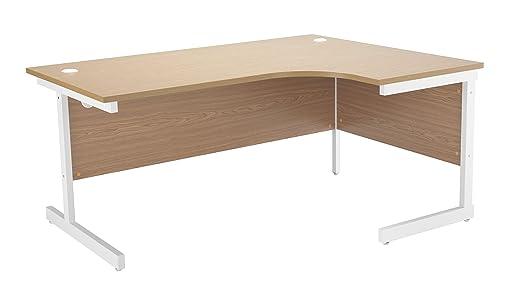 Office Hippo Ideal Right Corner Desk, 180 cm - White Frame/Oak Top