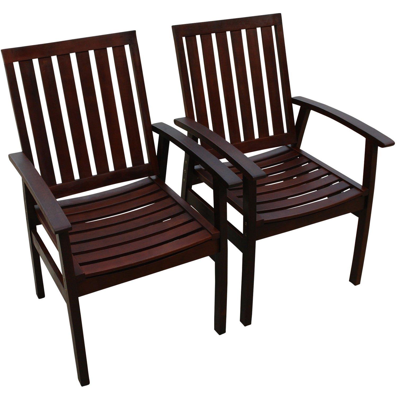indoba® IND-70072-ST - Serie Provence - Gartenstühle aus Eukalyptus Holz - 2 Stück