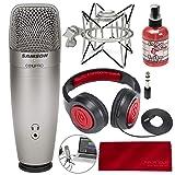 Samson C01U Pro USB Studio Condenser Microphone W/Spider Shock Mount, Microphone sanitizer, Samson Stereo Headphones and FiberTique Cleaning Cloth