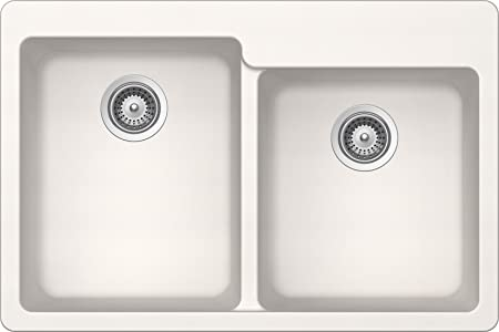 SCHOCK ALIN175T099 ALIVE Series CRISTADUR 60/40 Topmount Double Bowl Kitchen Sink, Polaris