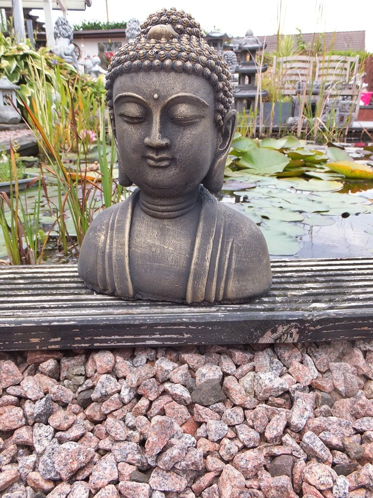 buddha kopf b ste gold steinguss patiniert feng shui massiver steinguss 25cm a ebay. Black Bedroom Furniture Sets. Home Design Ideas