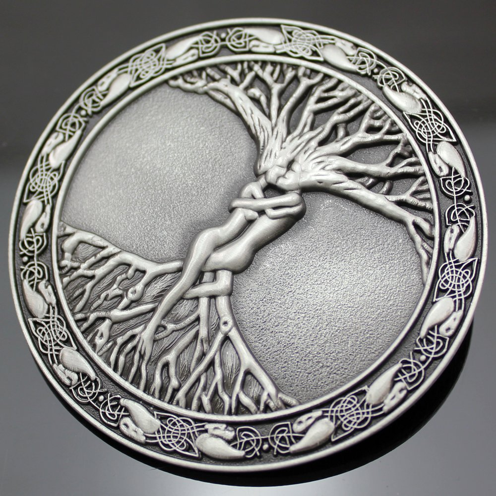 Q&Q Fashion Men Vintage Silver Celtic Tree Of Life Love Nordic Mythology Pagan Wicca Belt Buckle 3