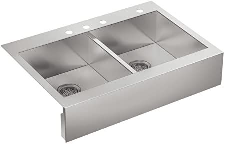 Kohler K-3944-4-NA Four-Hole Stainless Steel Sink with Shortened Apron-Front for 36-Inch Cabinet Vault Top-Mount Double Basin, Stainless Steel