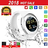 Smart Watch for Android Phones 2018 Bluetooth Smartwatch Android Phone Watch Waterproof Smart Watches Touchscreen with Camera Compatible IOS iphone X 8 7 6 6S plus Android Samsung for Women Man (Color: white)