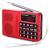 PRUNUS Portable SW/FM/AM (MW)/MP3/USB/SD/TF Radio. Large Button and Large Display. Stores Stations Automatically. Allowing The User to Play Stored MP3 Files. (No Manual Memory Stations Function) (Color: red)