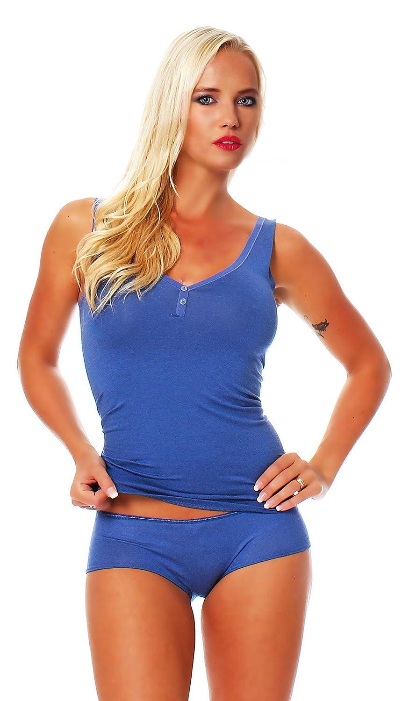 Schöller Trägerhemd, Achsel-Top mit Knöpfen,Unterhemd Baumwolle – Viskose, in Denim Blue / Jeansblau, Größen 36 – 46 bestellen