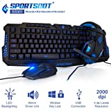 SportsBot SS301 Blue LED Gaming Over-Ear Headset Headphone, Keyboard & Mouse Combo Set w/ 40mm Speaker Driver, High-Quality Microphone, Multimedia Keys & Window Key Lock, 4 DPI Levels (BLU) (Color: blue)