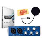 PreSonus AudioBox USB 2x2 Recording System Bundle with Pop Filter, Studio One Software, and Austin Bazaar Polishing Cloth