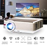 Bluetooth LCD HD Video Projector 4200 Lumen 1280x800 Wxga Native Android 6.0 WiFi Home Cinema Theater Projector Support 1080P HDMI Wireless Screen Cast Apps for Outdoor Entertainment PS4 DVD Wii Xbox (Color: 4200 Lumen Android 6.0+Bluetooth)
