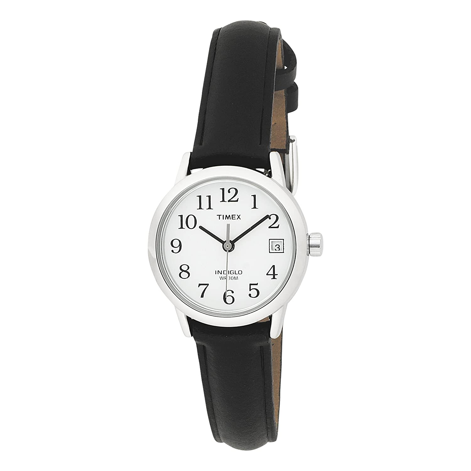 Đồng hồ nữ Timex Womens T2H331 Easy Reader Black Leather Strap Watch.