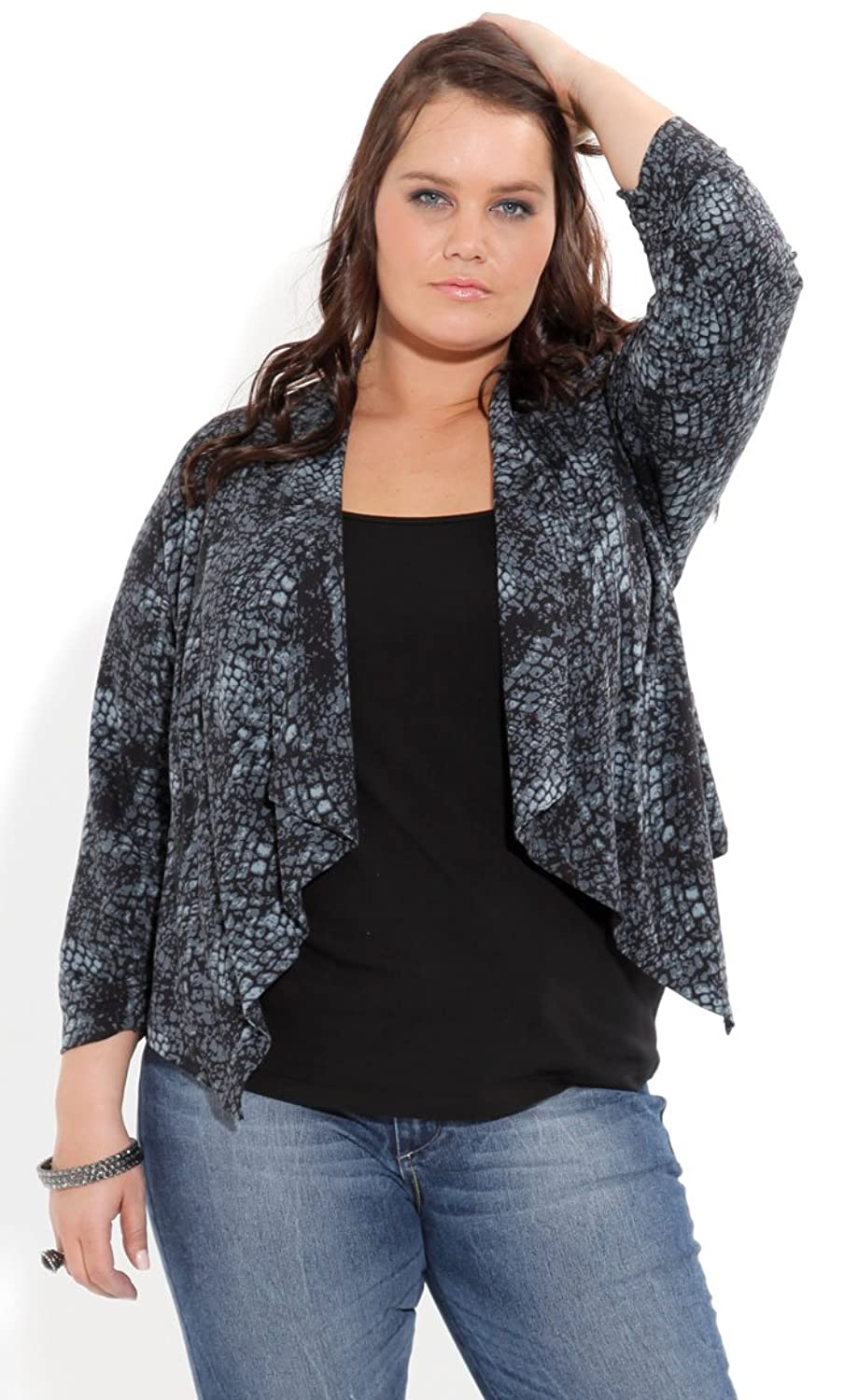 City Chic Women's Plus Size Drapey Snake Skin Jacket