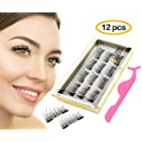 DIOVERDE 12 PCS Upgraded Magnetic Eyelashes, Best Magnetic Eyelashes, Ultra Thin Magnetic Eyelashes, Upgraded Fiber and Reusable Magnetic Eyelashes, Best 3D Magnetic Eyelashes for 2018 (Color: Blue, Tamaño: Flowers)