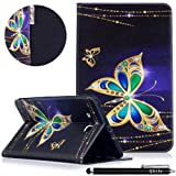 Qbily Samsung Galaxy Tab E 9.6 Case Glitter Butterfly Lightweight Flip Leather Protective Case Folio Stand Cover for Tab E Nook 9.6-Inch Tablet (SM-T560/T561/T565 & SM-T567V Verizon 4G LTE Version) (Color: Glitter Butterfly)