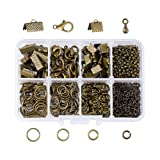 Pandahall 1 Box Nickel Free Jewelry Making Finding Kits with Lobster Clasps/Ribbon Ends/Jump Rings/Drop End Pieces (Antique Bronze) (Color: Kits-6)