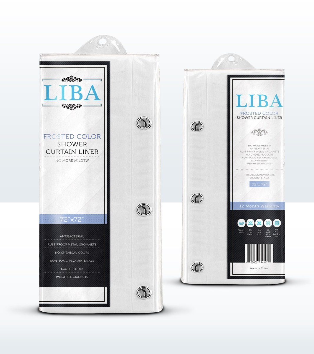 Liba PEVA Antimicrobial PVC Free Shower Curtain Liner, Frosted