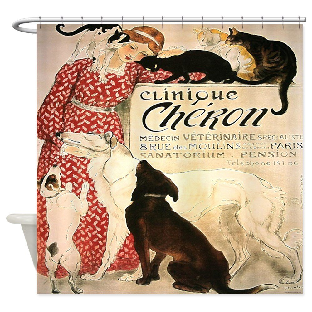 CafePress - Vintage French Cat Dog - Decorative Fabric Shower Curtain 0