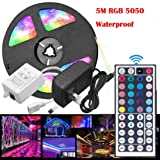 Fullfun 16ft RGB 5050 Waterproof LED Strip Light Decoration with 44 Key Remote Controller
