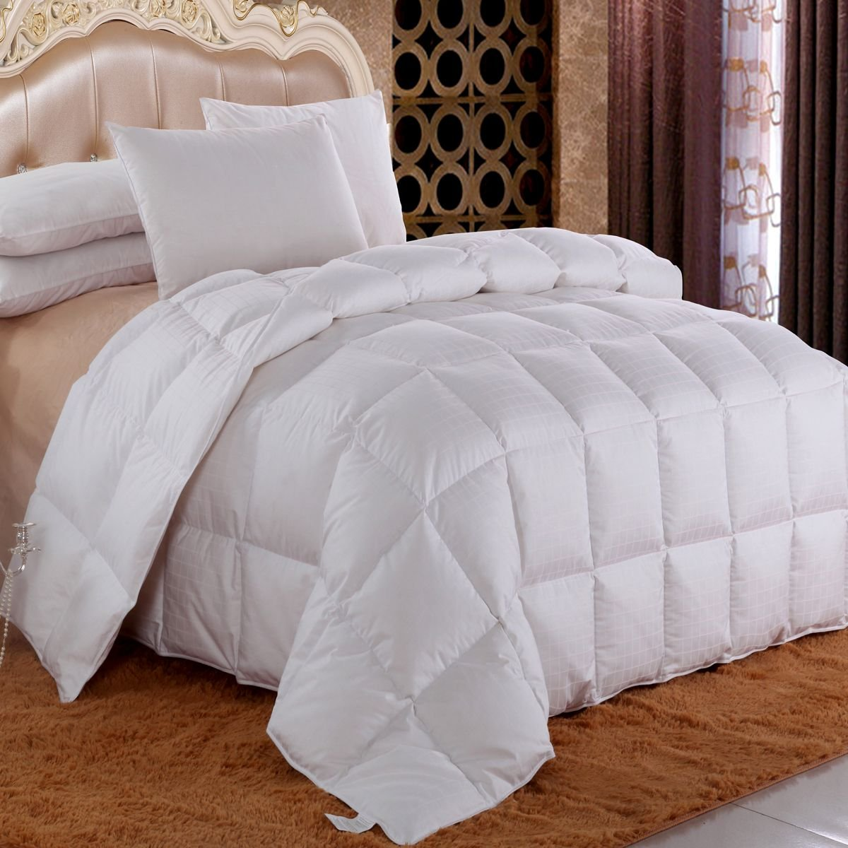 Royal Hotel Dobby Down Comforter 650-FILL-POWER Down-Fill, 100% Egyptian Cotton 300-Thread-Count, California-King Size, Down White