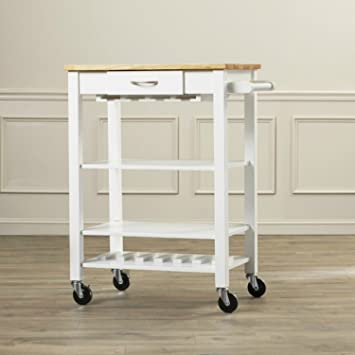 Rolling Kitchen Cart with Butcher Block Top-sturdy and Makes for a Perfect Space for Cutting and Chopping-it Is Ideal for Contemporary Interiors-satisfaction Guaranteed! (White / Natural)
