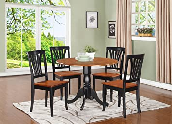 East West Furniture DLAV5-BCH-W 5-Piece Kitchen Table and Chairs Set, Black/Cherry Finish