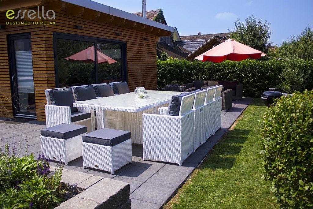 essella polyrattan essgruppe vienna 8er in wei g nstig kaufen. Black Bedroom Furniture Sets. Home Design Ideas