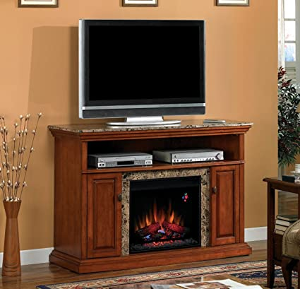 """ClassicFlame 23MM1424-W276 Brighton TV Stand for TVs up to 60"""", Golden Honey  (Electric Fireplace Insert sold separately)"""