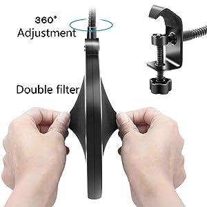 Topkar Adjusted Recording Suspension Boom Scissor Mic Arm Stand with Pop Filter