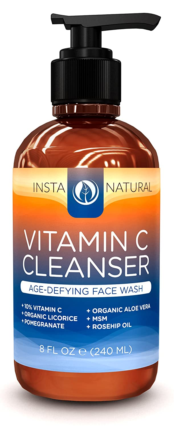 InstaNatural Vitamin C Facial Cleanser - Revitalizing Anti-Aging Face Wash with 10% Vitamin C, Organic Aloe Vera & Rosehip Oil - 8 FL OZ madina olive soap 3 5 oz with aloe vera