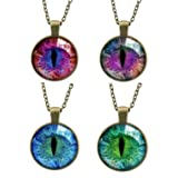 EVELICAL 4PCS Glass Vintage Dragon Cat Eye Pendant Necklace for Men Women Gold Tone