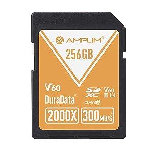 256GB V60 UHS-II SDXC SD Card - Amplim Blazing Fast 300MB/S (2000X) UHS2 Extreme High Speed 256 GB/256G SD XC Memory Card. 4K 8K Video Camera UHSII Card for Fujifilm, Nikon, Olympus, Panasonic, Sony (Color: V60 256GB, Tamaño: 256GB)