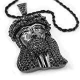 18K Black Gold Plated JESUS PIECE Iced out CZ Pendant with ROPE Chain (Color: Black)