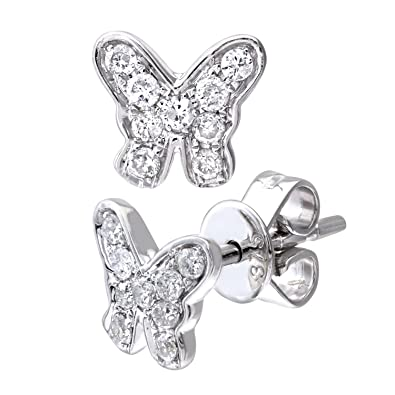 Naava 9 ct White Gold 0.20 ct Diamond Butterfly Stud Earrings