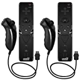 EEEKit 2-Pack Remote and Nunchuk Controller Combo Set with Strap for Nintendo Wii/Wii U/Wii Mini (Black) (Color: Black*2)