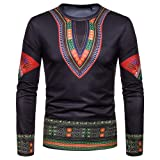 Toimothcn Men's Dashiki Tops African Ethnic Print Shirt Long Sleeve O-Neck Sweatshirt Pullover Top Blouse(Black1,XL) (Color: Black1, Tamaño: X-Large)