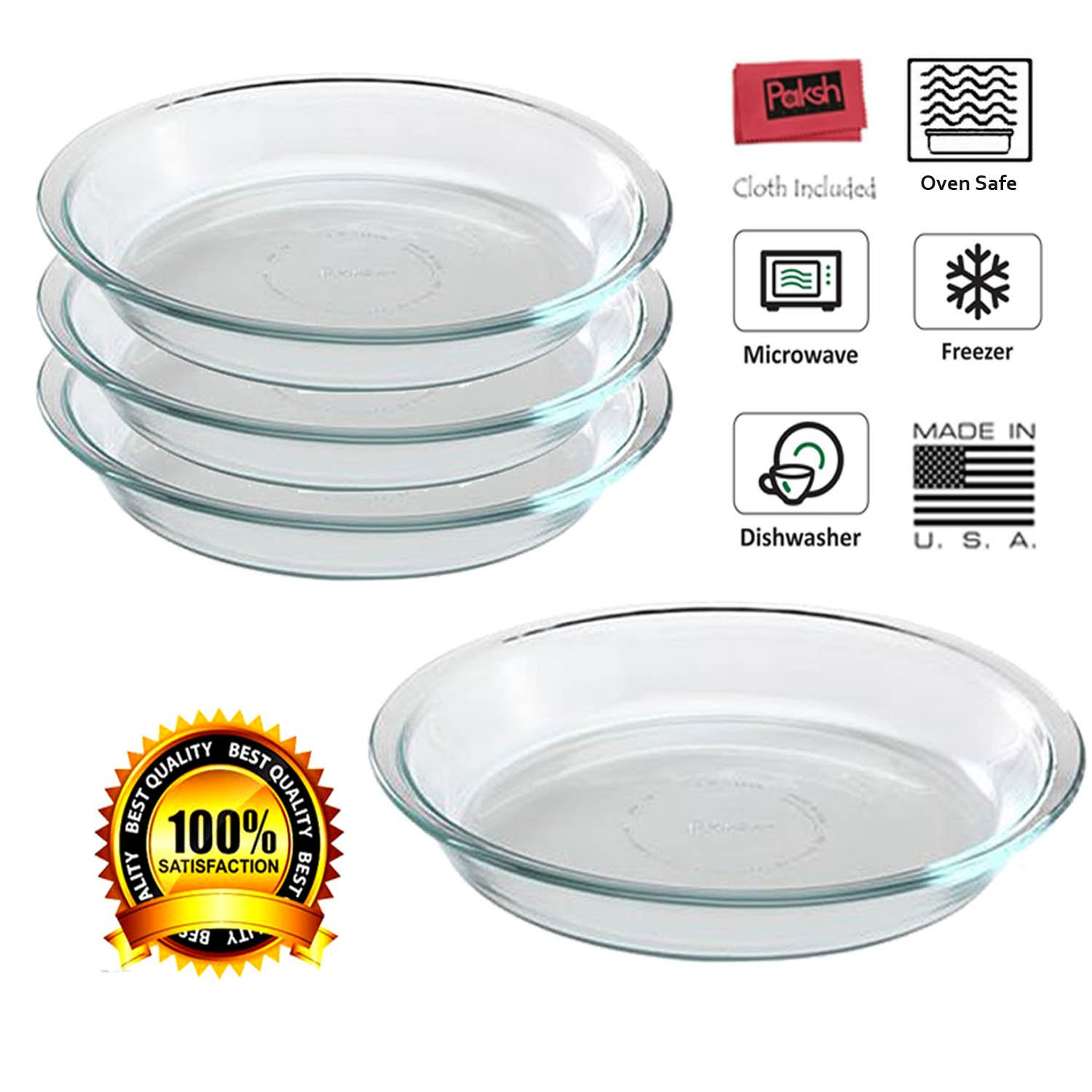Pyrex/Paksh Glass Bakeware Pie Plate/Dish 9 Inch Round Clear, Microwave, Oven Freezer, Dishwasher Safe (4-Pack)