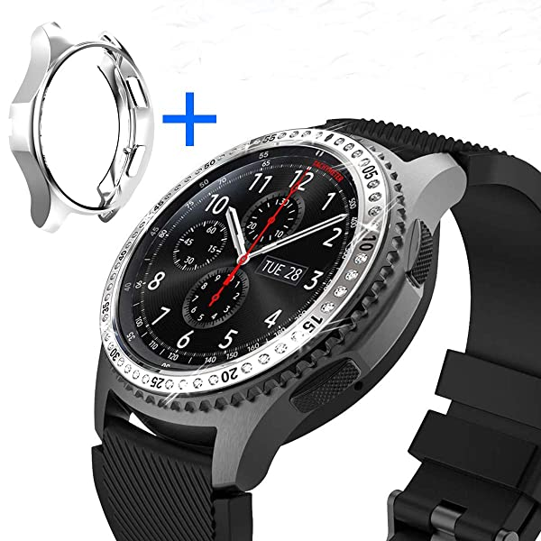 [2 Pack] JZK Samsung Galaxy Watch 46mm/Gear S3 Frontier & Classic Bezel Ring,Adhesive Cover Anti Scratch & Collision Protector Bezel Loop + Protector Case for Galaxy Watch 46mm Smartwatch Accessories (Color: Silver-3, Tamaño: 46mm)