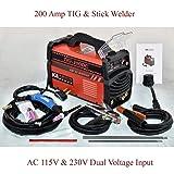 TIG-200 Amp TIG Torch, Stick ARC DC Inverter Welder, 110V & 230V Dual Voltage Welding (Color: Red, Tamaño: Full Size)