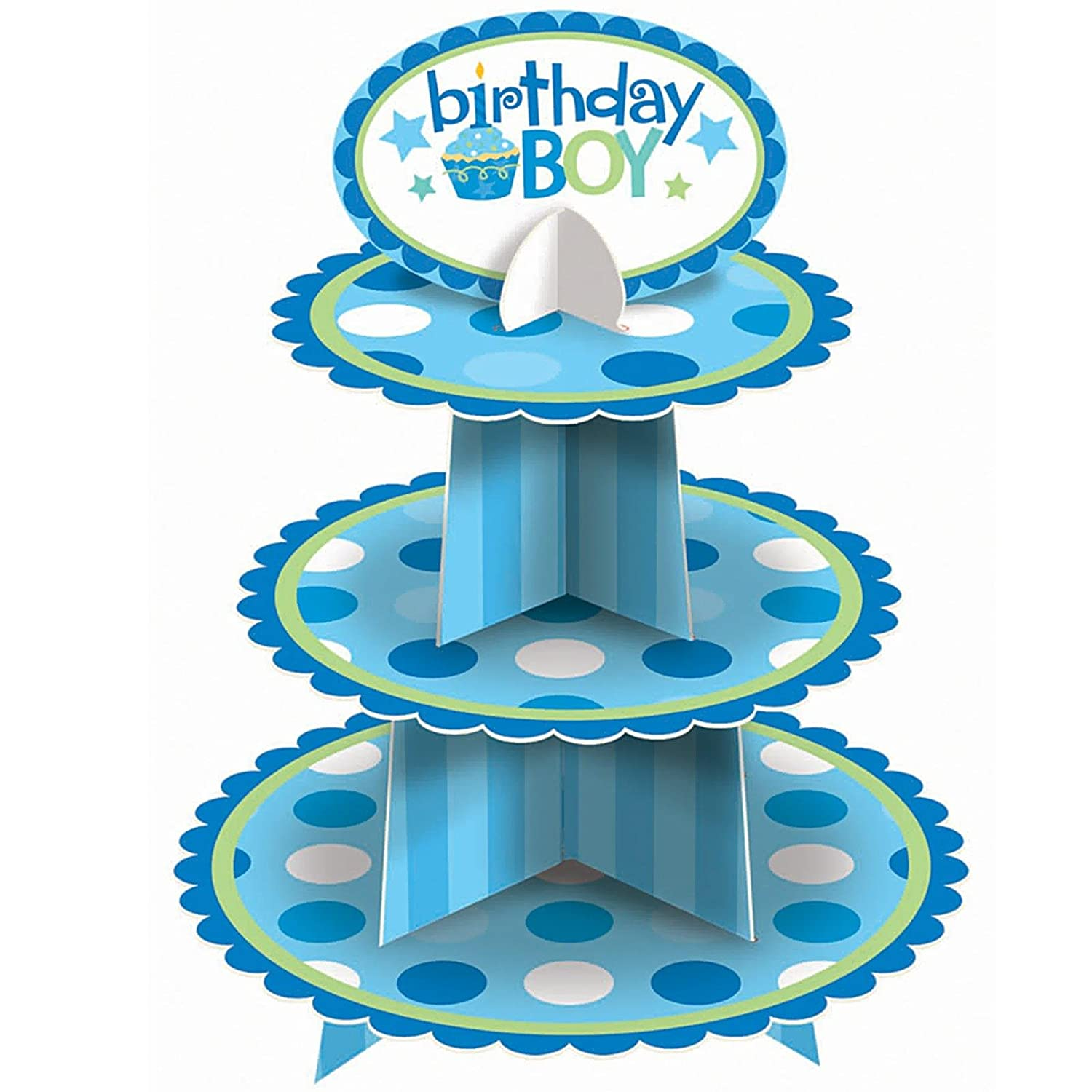 Dupl – 1st Birthday Boy Cupcake Stand Party Accessory (1 count)