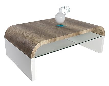 HL Design 01-12-174.3 Couchtisch Janka II Tischplatte Wildeiche Truffel Sicherheitsglasablage 8 mm, 40 mm, Materialstärke, 110 x 70 x 40 cm, lack weiß hochglanz