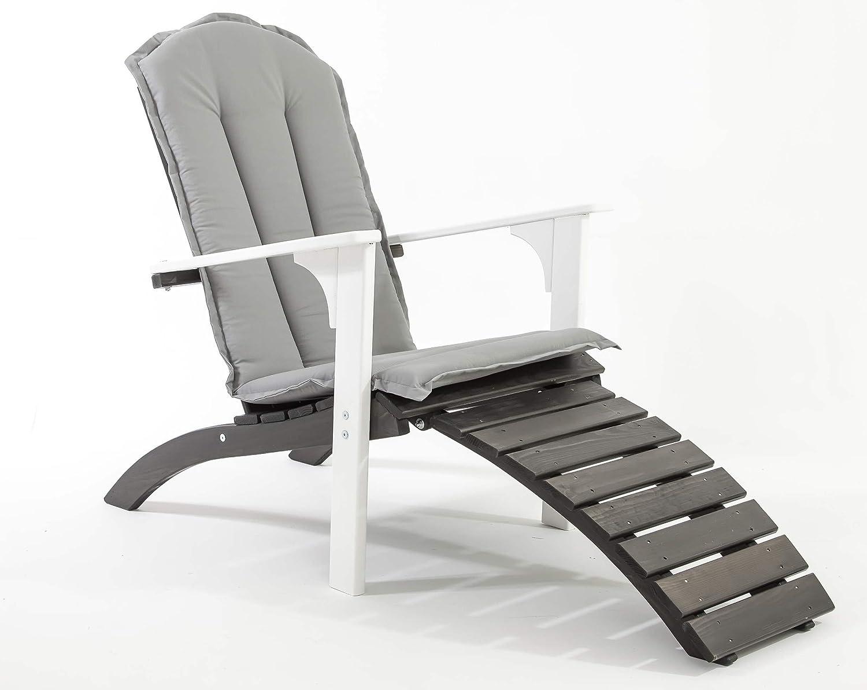 GARDENho.me Nordischer ADIRONDACK Chair Falun inkl. Kissen Massivholz, Deckchair, 5 Farbvarianten Weiß/Taupegrau jetzt kaufen