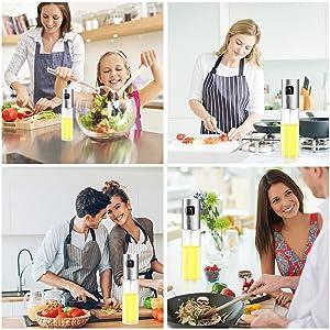 Olive Oil Sprayer Dispenser for Cooking, Food-Grade Glass Oil Spray Transparent Vinegar Bottle Oil Dispenser 100ml for BBQ/Making Salad/Baking/Roasting/Grilling/Frying Kitchen. (Color: Transparent)