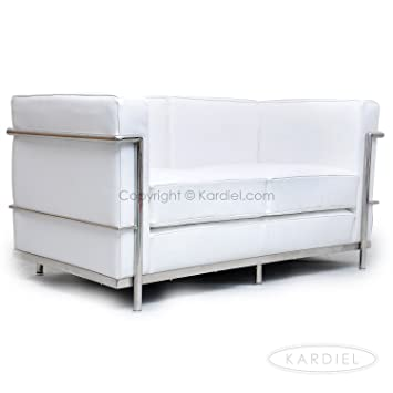 Kardiel Le Corbusier Style LC2 Loveseat, Pure White Genuine Leather