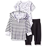 Hanes Ultimate Baby Flexy Jogger with Bodysuit and Zippin Knit Hoodie Set, Black Stripe, 12-18M (Color: Black Stripe, Tamaño: 12 - 18 Months)