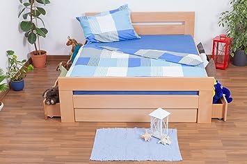 """Lit double """"Easy Sleep®"""" K6 incl. 4 tiroirs et 2 panneaux de masquage, 160x200 cm en hêtre massif naturel"""
