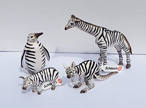 Schleich Animaux Animal Set im Zebre Design - Kangaroo, Girafes, Manchot royal, Porcelet