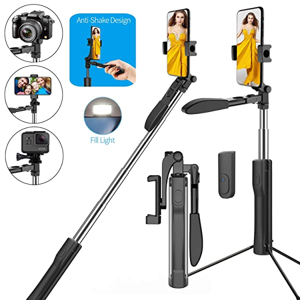 Snik-S 5-in-1 Selfie Stick, 360° Long Shot Gimbal Stabilize Selfie Stick Extendable Anti-Shake with LED and Tripod for Light with Wireless Remote Shutter Smooth Video Record for Live Broadcast (Color: black)