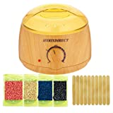 [2018 Upgrade Version ] Hot Wax Warmer Hair Removal Kit Wood Pattern Wax Warmers Heater Waxing Melts with 4 Flavors Hard Wax Beans 10 Wax Applicator Sticks