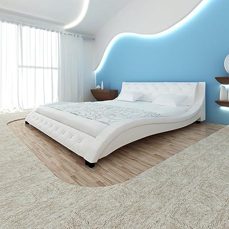 vidaXL piel sintética cama Forma de onda 140cm con Memory Colchón Color Blanco